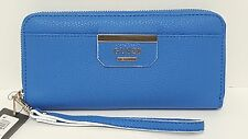 Guess Bobbi Blue Capri Multi Zip Around Large Wallet Clutch NWT