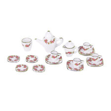 15pcs Dollhouse Miniature Dining Ware Porcelain Tea Set Pot+Dish+Cup+Saucer AD