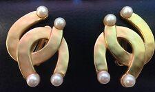KARL LAGERFELD (Chanel Designer) Lucky Horseshoe Faux Pearl Equestrian Earrings