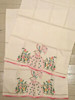 Pair 2 Vintage Embroidered Southern Belle w Parasol & Flowers Pillowcases Unused