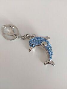 Schlüsselanhänger / Taschenanhänger Delphin strass blau