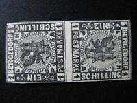 BERGEDORF GERMAN STATES Mi. #II K rare mint tete-beche stamp pair! CV $3,350.00