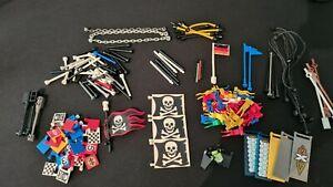 Lego Konvolut / Flaggen / Stangen / Ketten / Schläuche / Seile / Antennen
