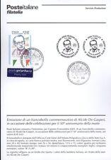 ITALIA 2005 ALCIDE DE GASPERI  BOLLETTINO COMPLETO DI FRANCOBOLLI ANNULLO FDC