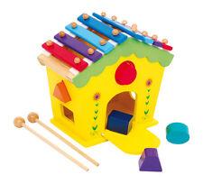 """Casa sonora """"Dodoo"""" in legno con xilofono come tetto e 5 elementi da infilare"""