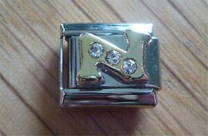 Italian Charms Rhinestone Letter N Fits Classic Size Italian Charm Bracelet