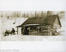 Old Time Surveyor's Winter  Cabin Vintage Transit Snowshoes Log Cabin Survey