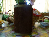 Fin XIX ,  Rare et Ancienne bouillotte en cuivre !recouverte de velours  vert