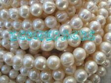 Wholesale 5 Strands 9-10mm White Near Round Freshwater Pearl Bead Nature Cheaper