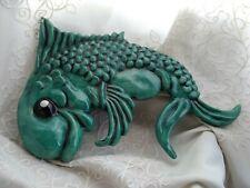 "Vintage, 50s-60s Ceramic Jazzy Fish Wall Art Bath Decor 10"" x 7"""