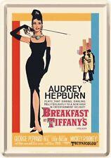 """Retro Tin Metal Postcard BREAKFAST AT TIFFANY""""S Movie Mini Sign Audrey Hepburn"""
