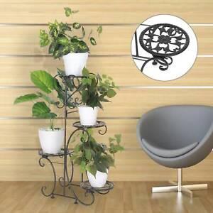 Indoor Outdoor Plant Stand Flower Pot Holder Display Shelf Metal Rack Home Décor