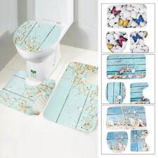 3Pcs Printed Bath Mat Set Non-Slip Pedestal Mat Toilet Bathroom Rug Memory Foam