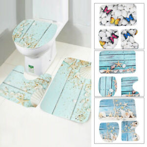 3Pcs Printed Bath Mat Set Non-Slip Pedestal Mat Toilet Bathroom Rug Memory Foam