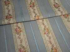 Beautiful Antique French Lisere Floral Stripe Brocade Jacquard Fabric ~ Blue