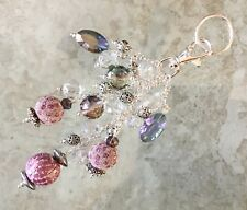Rose Pink Encruste Beads & Faceted Crystals Keyring FOB Purse Charm Great Gift!