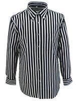 Retro Mod Vintage Black/White Stripe 100% Cotton Button Down Shirt`s