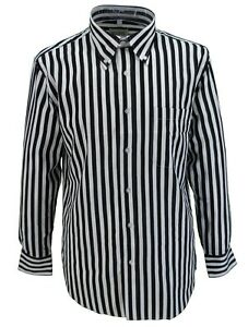 Retro Mod Vintage Black/White Stripe 100% Cotton Button Down Shirt`s