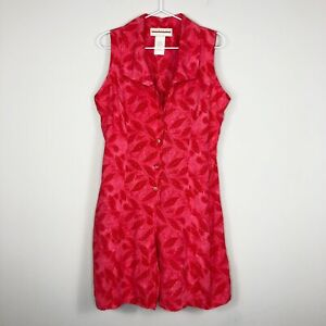 Vtg Expressions Womens Printed Button Front Tie-Back Sleeveless Romper Sz Medium