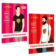 Printable Heat Transfer Paper DARK LIGHT Cotton Fabric Inkjet Iron On 20 Sheets
