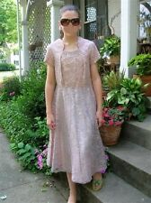 VTG DRESS GARDEN PARTY MAD MEN 50s 60s Pink Lace flair skirt Beaded accents