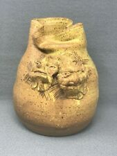 Vintage Studio Art Pottery Hand Thrown Vase 2 Ugly Crabby Faces signed HOOK '78
