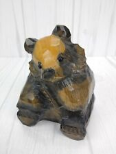 """Vintage Wood Hand Carved Adorable BEAR 5"""" With Glass Eyes Figurine/Statue"""