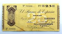 Spain-GUERRA CIVIL. Billete. 25 pesetas 1936. Bilbao. Banco de Vizcaya. EBC-/XF-
