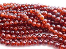 100 x 6mm Crackle Glass Beads Dark Amber Orange, Beads, Glass     (GLPB9041)