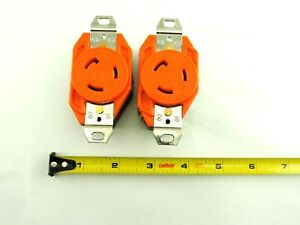 Lot of 2 Bryant Single Receptacle, L5-20, 20a, 125v, Orange, with screws