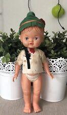 Vintage Italian Plastic Doll Boy Robin Hood Hat Molded Hair 27cmT Italy Marked