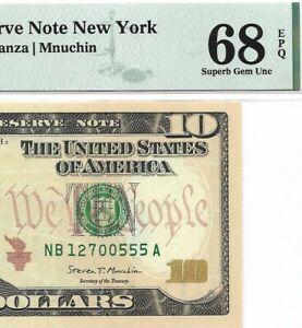 2017 $10 NEW YORK FRN, PMG SUPERB GEM UNCIRCULATED 68 EPQ BANKNOTE, NICE S/N