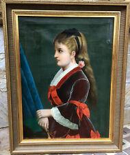 19 JHD. Meister d. Biedermeier Portrait einer jungen hübschen Dame Öl LWD.59x75