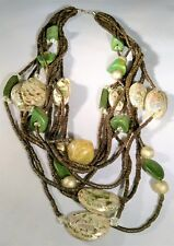 BOHO Green Brown 9 Strand Necklace Statement Chunky Opalescent Shell Bead Dressy