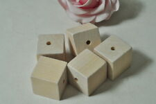 8pcs Large Square Wood Bead Natural Wooden Unfinished Necklace Craft Cube Punk