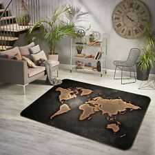 3D Black Trace ZHU205 World Map Non Slip Rug Mat Elegant Photo Carpet Amy