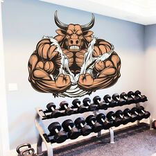 Bull Wall Decals Animal Full Color Bodybuilder Sticker Sport Gym Decor Art DD178