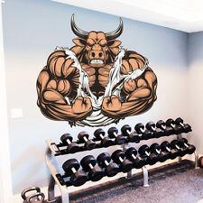 Bull Wall Decals Animal Full Color Bodybuilder Sticker Sport Gym Decor Art DD178