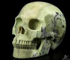 """5.0"""" BUTTER JADE Carved Crystal Skull, Realistic, Crystal Healing"""