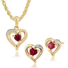 gemondo 9ct Oro Giallo Rubino & Diamante Orecchini a perno Cuore & 45cm