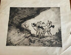 """1928 NAT LOWELL Etching SIGNED NA Lowell """"THE CAVE"""" 74/75 RARE"""