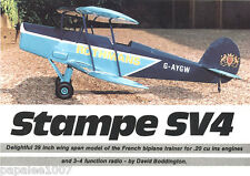 "Model Airplane Plans (RC): STAMPE SV4 39""ws Scale Biplane for .15-.20ci Engine"