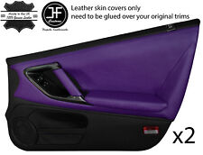 BLACK & PURPLE LEATHER 2X FULL DOOR CARD COVERS FITS NISSAN GT-R GTR R35 09-2017
