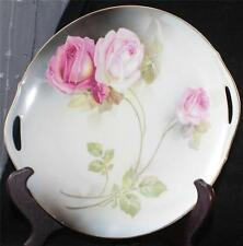 Antique Royal Rudolstadt Prussia Bone China Red Pink ROSES Handles Serving Plate