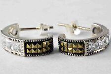 Vintage Judith Jack 925 Sterling Silver Marcasite CZ J-Hoop Earrings