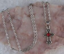 Tibetan Silver Cross With Red Diamante Pendant, Silver Chain Necklace.Handmade