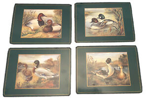 "Vintage Pimpernel Set: 4 Duck scenes. Cork Backed Placemats. Boxed. 12"" x 9"""