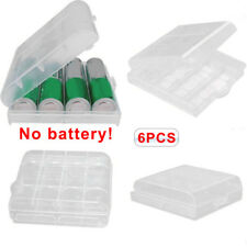 6 Packs AA AAA Cell Battery Storage Case Holder Organizer Box Clear Hard Plastic