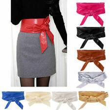 Faux Leather Tie Corset Wide Kimono Wrap Cinch Waistband Obi Bow Belt for Women