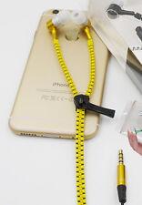 Yellow 3.5mm plug in-ear stereo zip metal earphones for iphone, ipod